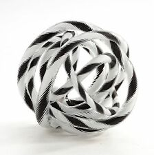 "New 8"" Hand Blown Art Glass Knot Sculpture Figurine Black White"