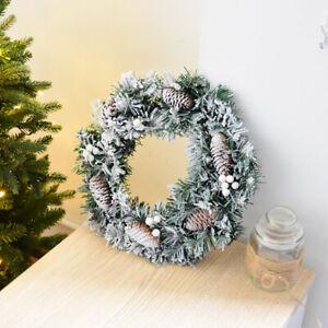 Artificial Pine Cone Snow Wreath Garland Window Door Christmas Hanging Decor UK