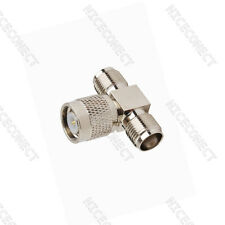 "RF Connector adapter TNC Plug male to Jack to Jack Female ""T"" Type"
