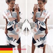 DE Damen Mode Kurzarm Irregulär Geometrie Lang Kleider Bleistiftkleid Clubwear