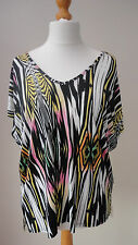 BNWT Vivid Multi Colours Print GEORGE Top V Neck+Back Very Loose Fit Size 12