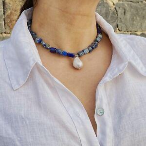 ZARD Lapis Lazuli and Baroque Pearl Necklace Natural Gemstone Handmade Jewelry