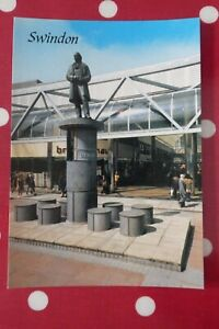 Brunel Statue, Havelock Square, Swindon - postcard, railway town, wiltshire