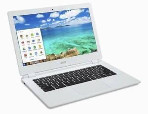 """Acer Chromebook white 13.3"""" laptop 4GBRam 16GB SSD WIFI WEBCAM USB HDMI CHROME"""