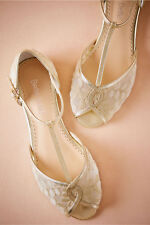 BHLDN 7 MAISE SHOES FLATS LACE MESH EMBROIDERY TSTRAP GOLD WEDDING BRIDAL $190