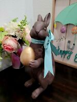 Easter Faux Chocolate Bunny Rabbit Gold Egg Figurine Statue Tabletop Decor 12""