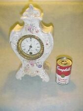 Antique Ansonia porcelain china mantel desk shelf clock, Victorian German case