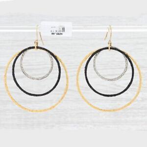 New Nina Nguyen Triple Hoop Earrings Sterling Silver Statement Hook Post Dangles