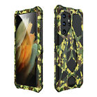 LUPHIE Metal Silicone Camouflage Pattern Case for Samsung S21/A52/A72