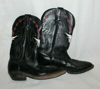 Tony Lama Black Longhorn Women Leather Bull Western Boot L0294 Size 6M Red White