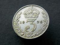 1925 Silver Vintage Threepence King George V Great Britain  High Grade Scarce