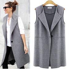 Women Sleeveless Trench Waistcoat Vest Winter Jacket Cardigan Blazer Duster Tops Grey XL AU 16 - 18