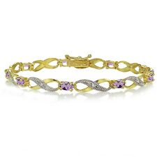 Gold Ton über Sterlingsilber Amethyst und Diamant Akcent Infinity Armband