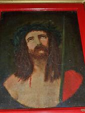 ANCIENNE HUILE SUR TOILE /JESUS EN OUTRAGE A LIENS/SIGNEE/1902/ENCADREE/22x27cm