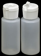 Plastic Bottle w/White Turret Lid, 1-oz., (HDPE), 100-Pack, New
