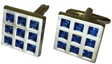 Mens Designer Cufflinks in Silver Style Metal with Blue Stones