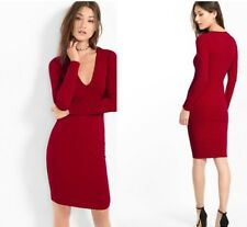 Nwot Express Deep V Sheath Dress Diva Red  (Burgundy) Sz Small