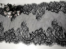 "9"" Wide Black Stretch Eyelash Chantilly Lace Fabric for Lingerie Table Runners"