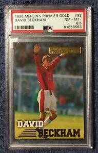 1996 MERLIN'S PREMIER GOLD - #92 DAVID BECKHAM - PSA 8.5 NEAR MINT/MINT+ - RC
