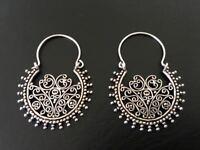 Genuine 925 Sterling Silver Hoop Earrings Tribal Ethnic Indian Filigree Pattern