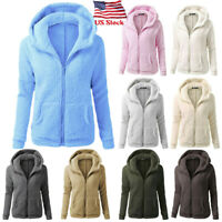 US Women Hooded Sweater Winter Warm Fleece Wool Zip Up Coat Outwear Jacket Parka