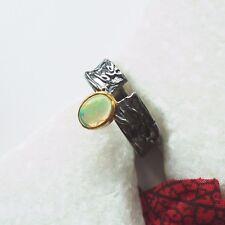 Äthopischer Opal gold schwarz Design Ring Ø 18,75  mm 925 Sterling Silber neu