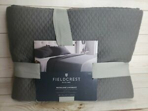 Fieldcrest Matelasse Coverlet KING BED Quilted Blanket Molten Gray 100% Cotton