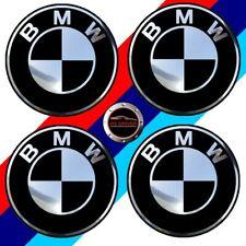 4 adhésifs sticker BMW noir & chrome 55 MM pour centre de jantes