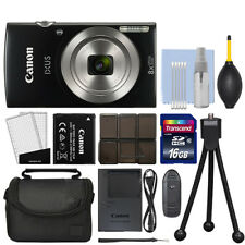 Canon IXUS 185 / ELPH 180 20.0MP Digital Camera 8x Optical Zoom Black + 16GB Kit