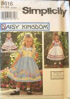 "Simplicity 8616_Daisy Kingdom Pattern_Girl's 5-6-7-8_18"" Doll Clothes_OOP_UNCUT"