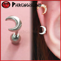 Plain Luna Moon Ear Cartilage Helix Tragus Ring Bar Ball Stud Piercing Earring
