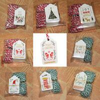 50Pcs Paper Hang Tags + Cotton Thread Christmas Gift Packaging Wrapping Supplies