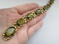 Vintage Gold Tone Banded Claw Set Green Glass Oval Link Fold Over Clasp Bracelet