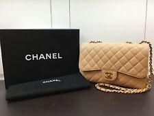 100% Auth Chanel 2.55 Beige Caviar Double Flap Jumbo Bag Rare Gold HW
