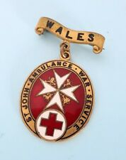 Vintage Enamel St John Ambulance Wales War Service badge W368