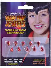 Halloween confezione da 10 SANGUE GOCCIA gioielli Stick On VAMPIRESS VAMPIRO sanguinoso Infermiere