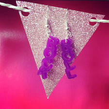 Rock and Roll Purple Charm Earrings Rockabilly Kitsch Quirky Music