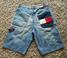 Vintage 90s Tommy Hilfiger FLAG Spell Out Logo HIP HOP Mens Denim Shorts Sz 34