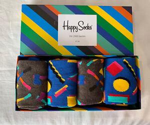 Unisex Colourful Cotton Mix Happy Socks 4 Pack Size 7.5/11.5 (EUR 41-46)     (d)