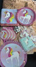 Rainbow Pink Unicorn Birthday Party Supplies straws blowers Sparkle Tablecloth