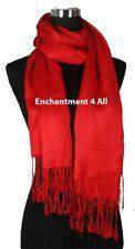 "100% 2-Ply Pashmina Cashmere Women Bridal Large 82""x28"" Scarf Shawl Wrap XL, Red"