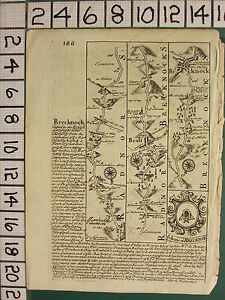 c1780 GEORGIAN MAP ~ RADNOR BRECKNOCK STRIP map ROADS ~ ARMS OF BRECKNOK