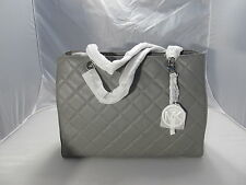 MICHAEL KORS  STEEL GREY SUSANNAH QUILTED LEATHER  LARGE TOTE  HANDBAG