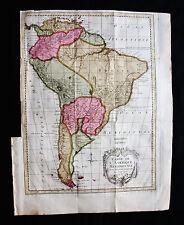 1754 BELLIN - Orig. Big FOLIO map of SOUTH AMERICA, BRAZIL, CHILE, COLOMBIA PERU