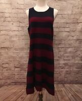 cc73e589bba Ann Taylor LOFT Womens Sleeveless Sweater Dress Size Large Navy Maroon  Striped