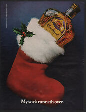 1983 CROWN ROYAL Canadian Whisky - My Sock Runneth Over - Christmas Stocking  AD