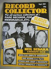 Record Collector Magazine. Issue no. 25. September 1981. Neil Sedaka, Little Ric