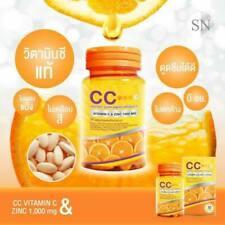 New CC Vitamin C & Zinc 1000 Mg Skin healthy from within, Reduce acne 2 Boxes