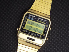 ULTRA Rare Vintage Casio Digital Watch DB-1000 GOLD 1985 FINGER WRITABLE  285