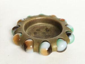 VTG Antique Vitro Agate Parkersburg WV Marble Ashtray Trinket Jewel Tray